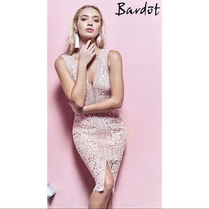 Bardot Morgan Front Slit Lace Sheath Dress Ballet